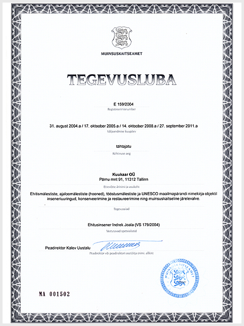 Muinsuskaitseameti tegevusluba alates 2004. aastast